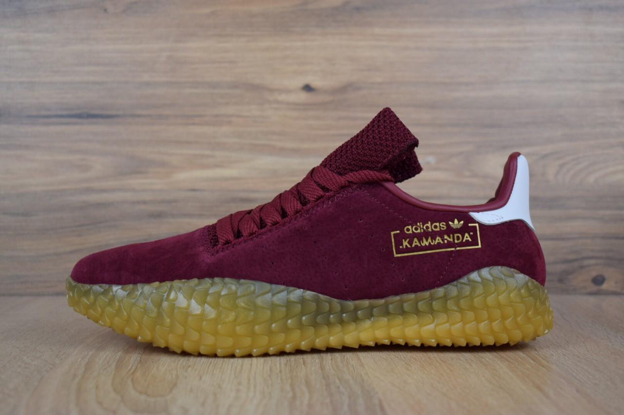 7e65e1e5 Кроссовки мужские Adidas Kamanda, замша, текстиль код OD-1596. Бордовые -  SNKRS