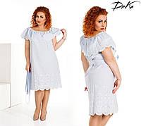 Красивоеплатье  50-52,54-56 коттон +вышивка макроме    Цвет - на фото