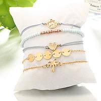 Сет из пяти стильных браслетов на лето женских «Denim set» (золотой)
