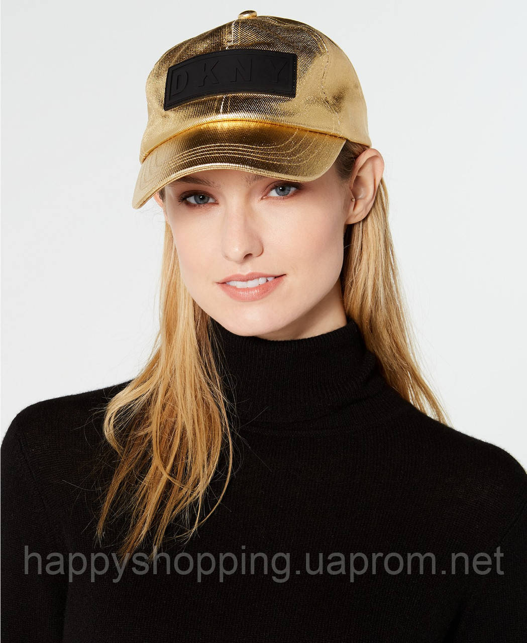 Женская оригинальная стильная золотистая кепка DKNY