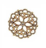 Коннектор филигранный круглый. Античное золото 29 мм, фото 1