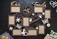 Семейная фоторамка из дерева, семейное древо с бабочками, цветочками и монограммой, семейным гербом. Our Famiy