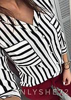 Женская блуза на пуговичках в черно-белую полоску