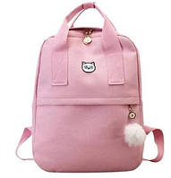 Рюкзак для девочки подростка с котом и помпоном розовый винтажный Mochila (AV168)
