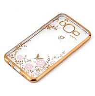 Чехол Luxury для Samsung J7 2015 / J700H / J700 / J700F ультратонкий бампер Gold, фото 1