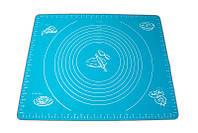 🔝 Коврик для выпечки - силиконовый коврик для раскатки теста и запекания в духовке синего цвета   🎁%🚚