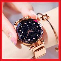 УЦЕНКА! Женские наручные часы Starry Sky Watch на магнитной застёжке, Золотые. Это скол,царапина