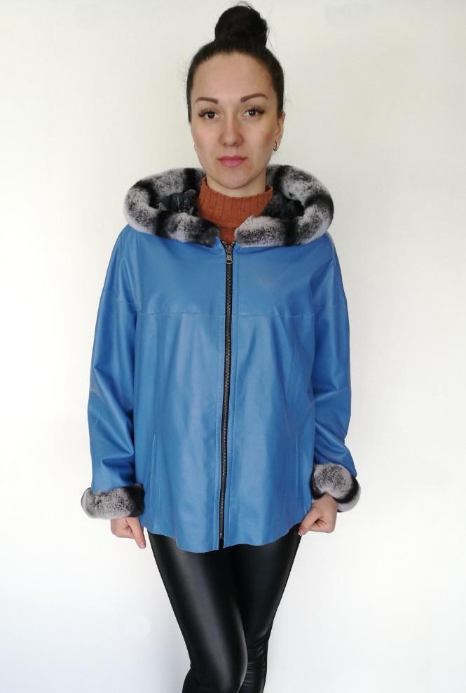 46cb923e2c2 Купить Куртка кожаная двусторонняя Oscar Fur 546 Голубой в Одессе от ...