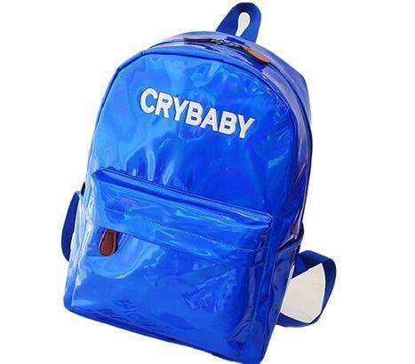 Голографический женский  рюкзак  Cry Baby большой Mojoyce синий (662/2)