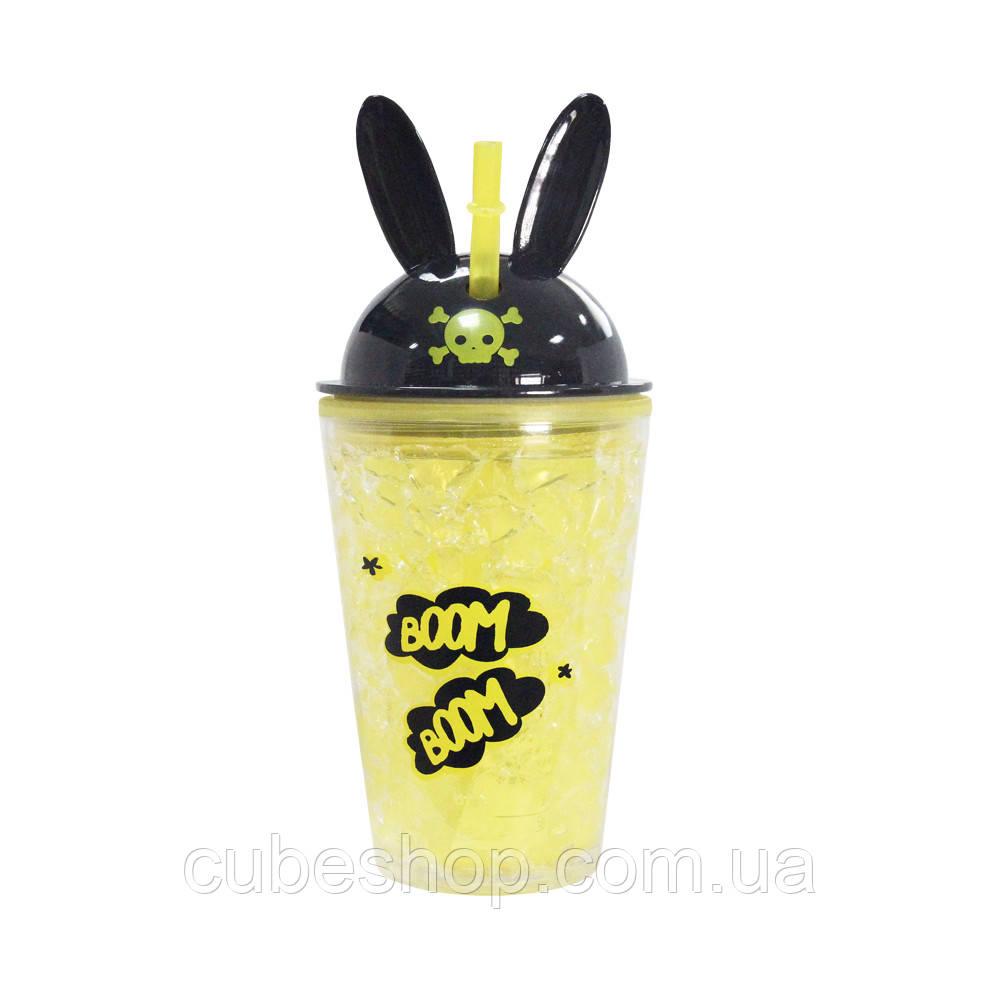 Охлаждающий стакан с трубочкой Boom Boom (450 мл) желто-черный