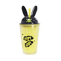 Охлаждающий стакан с трубочкой Boom Boom (450 мл) желто-черный, фото 1