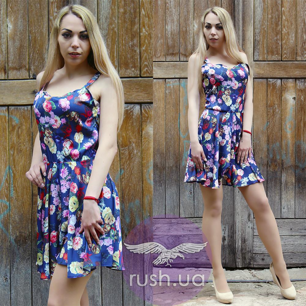 Платье с цветочным принтом расклешенное