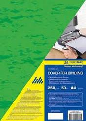 "Обложка картон для биндера ""под кожу"" А4 BUROMAX ВМ0580-04 250 г/м2 50 шт. (зеленая)"