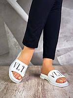 Женские кожаные белые шлепанцы  VLTN, фото 1