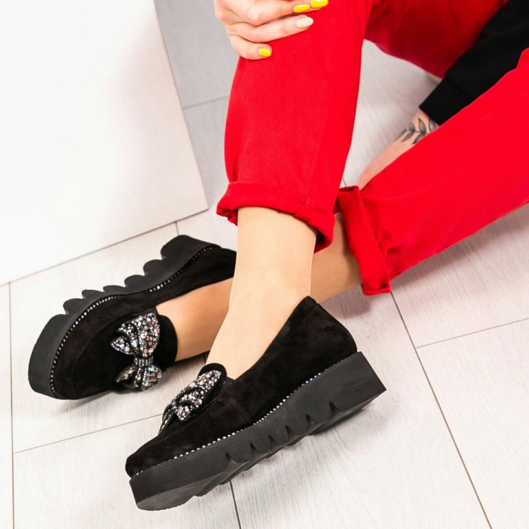Туфли женские с бантом с камней