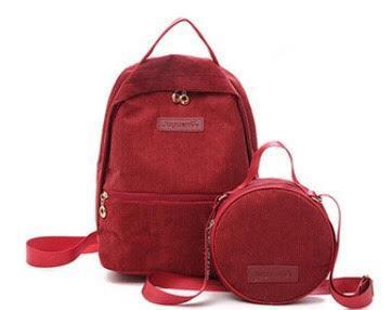 Рюкзак для девочки подростка вельветовый с сумочкой Mochila красный (AV166)