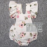 Детский 68-74 3-7 мес ромпер боди с крылышками летний для девочки новорожденных малышей из САТИН 4717 Белый, фото 1