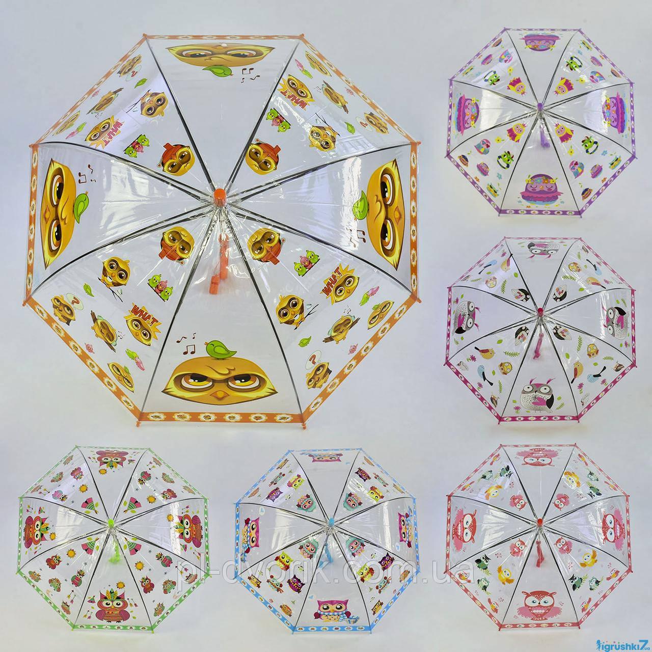 Зонтик детский С 36383 (60) 6 видов, d=74см, глубокий купол  цена 80