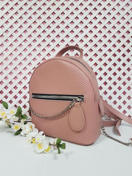 """Рюкзак """"Шайн"""" натуральная кожа, розовый с плетенкой"""