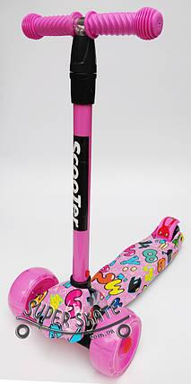 Самокат детский Трехколесный Самокат scooter - Буквы - Розовый, фото 2
