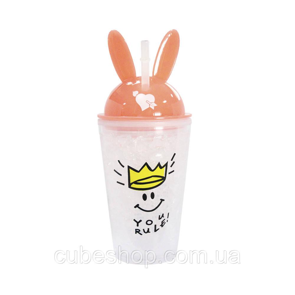 Охлаждающий стакан с трубочкой You rule (450 мл) нежно-розовый