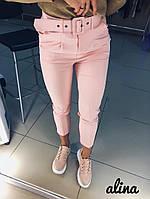 Женские укороченные брюки с поясом tez3012350