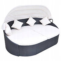 Ліжко-диван садове з дашком із штучного ротангу, фото 1