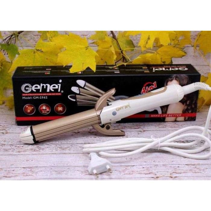 Стайлер для волос 4 в 1 Gemei GM-2962, Керамический утюжок плойка для волос Gemei GM 2962