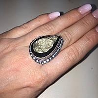 Кольцо капля с камнем пирит 17,5 размер. Кольцо с пиритом Индия, фото 1