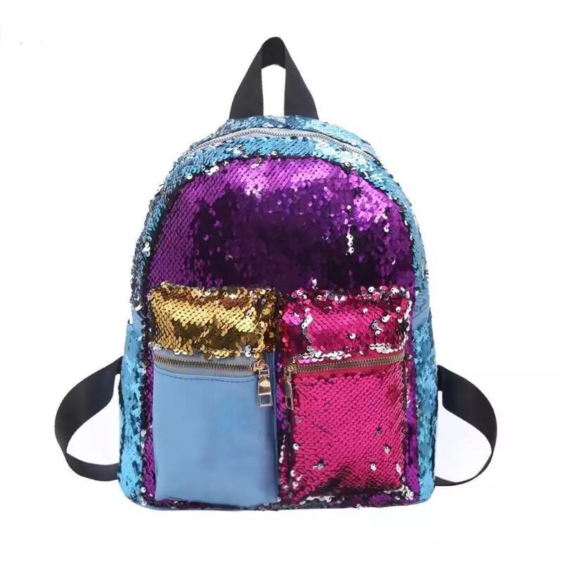 Рюкзак с пайетками школьный для девочки подростка Mojoyce фиолетовый (AV174/1)