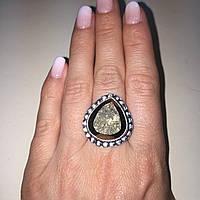 Красивое кольцо с камнем пирит 16,5 размер. Кольцо с пиритом Индия!, фото 1