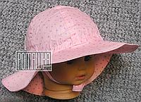 Детская р 46-48 9-18 мес летняя панамка на завязках девочке для девочки на лето тонкая легкая 4716 Розовый 48
