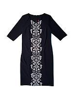 Платье короткое синее женское с белой вышивкой Емиратская лилия MOTYV by Piccolo L