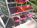 Стол складной для пикника + 4 стула + зонт 180 см Цвета Белый и Коричневый., фото 3