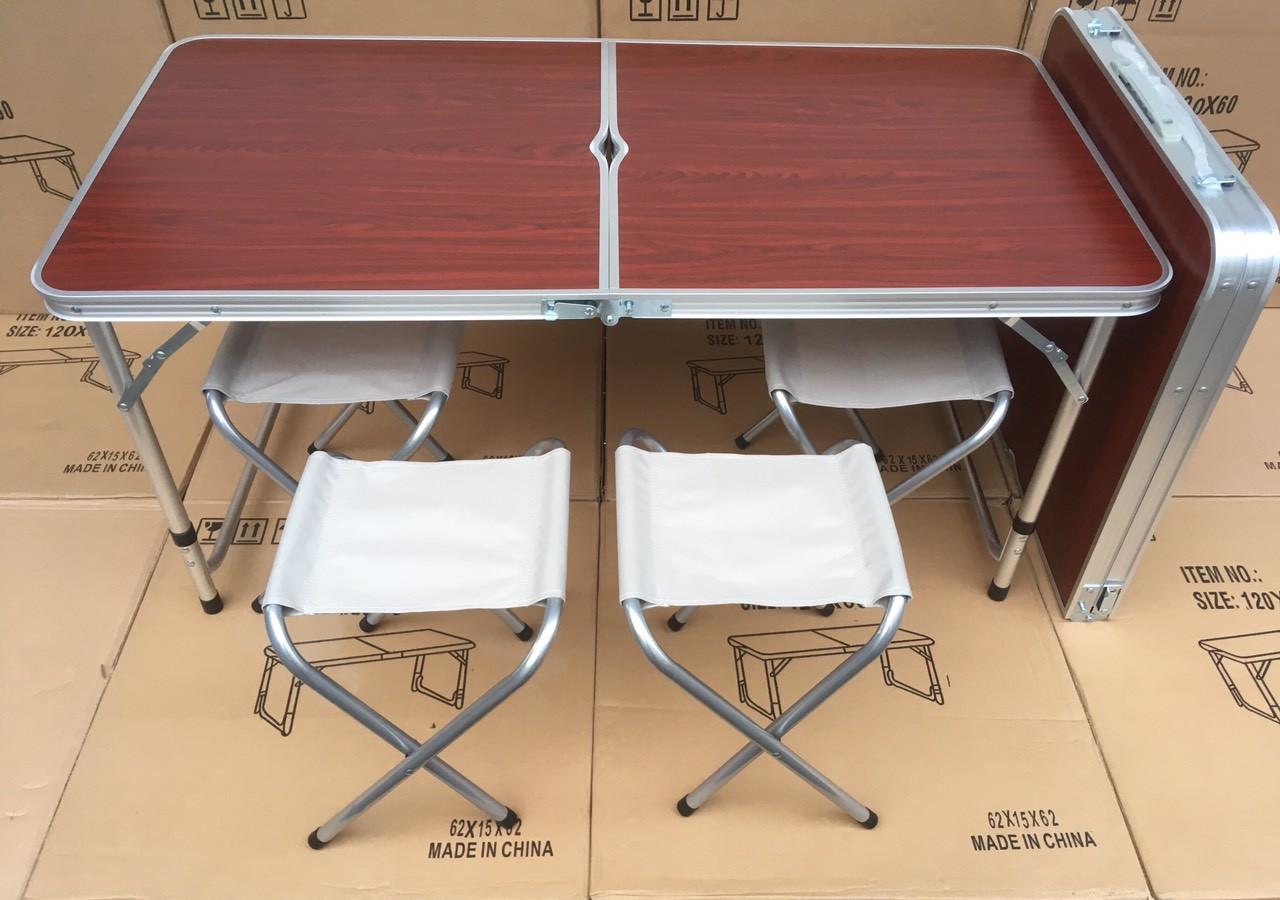 Стол складной для пикника + 4 стула + зонт 180 см Цвета Белый и Коричневый.