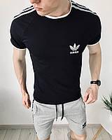 Шорты + футболка в стиле Adidas grey-black / мужской летний спортивный костюм