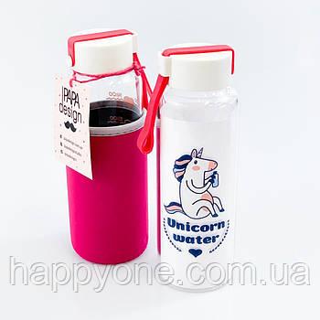 """Стеклянная бутылка  для воды и напитков """"Единорог"""" (450 мл)"""