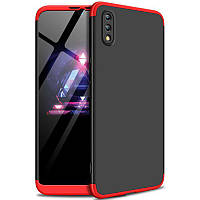 Пластиковая накладка GKK LikGus 360 градусов для Huawei Y7 Pro (2019) / Enjoy 9 (Черный / Красный)