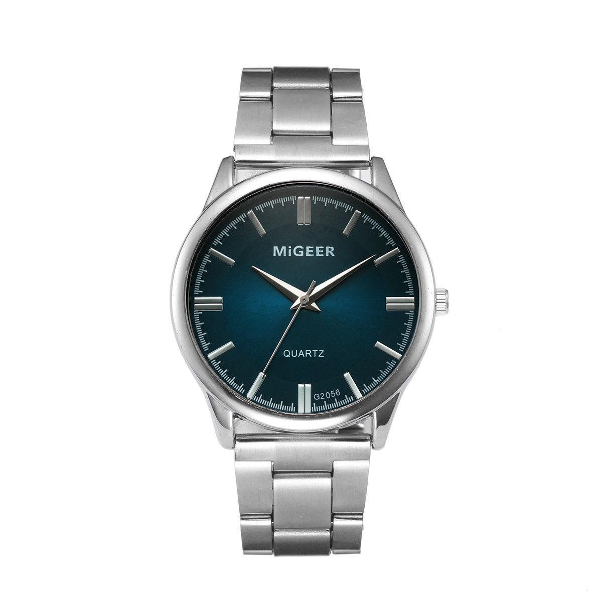 Мужские повседневные наручные часы «Migger» с металлическим браслетом (зеленый циферблат)