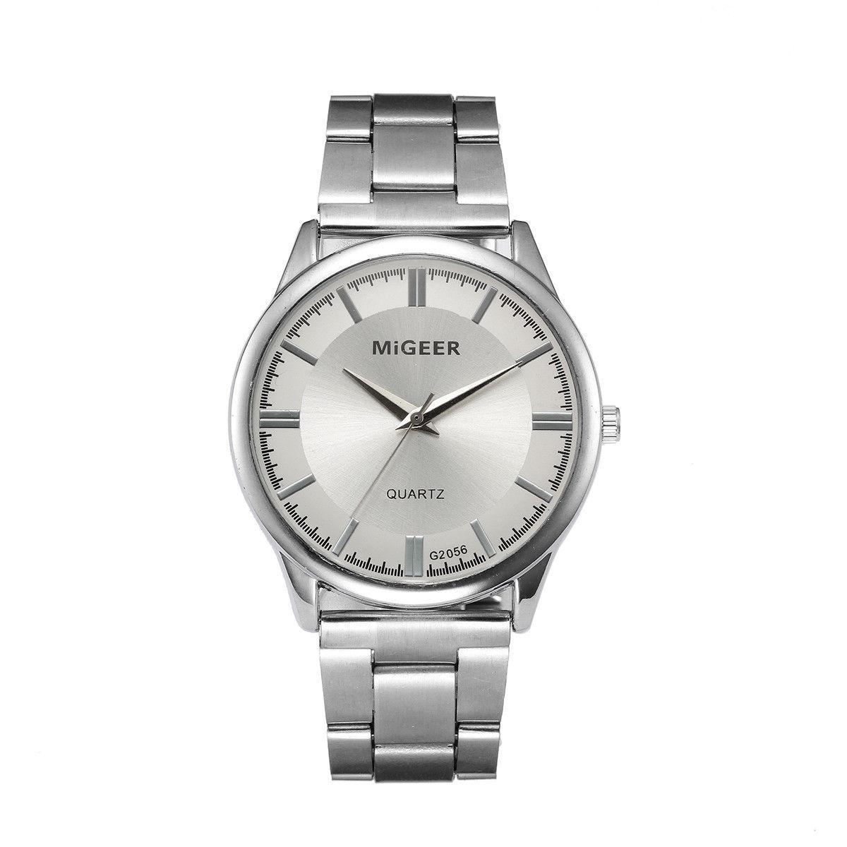 Мужские повседневные наручные часы «Migger» с металлическим браслетом (серебристый циферблат)