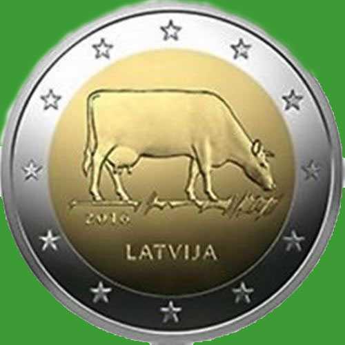 Латвія 2 євро 2016 р. Сільське господарство Латвії - корова . UNC