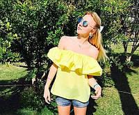 Стильный топ блуза из коттона с воланом на плечах желтого цвета
