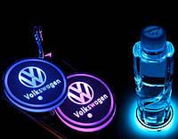 Подсветка подстаканника в авто RGB с логотипом автомобиля