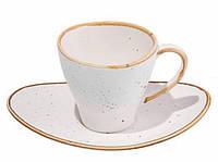 Чашка с блюдцем - 80 мл, Белые (ALT Porcelain) Sahara