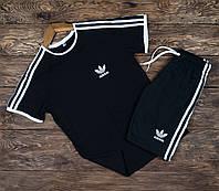 Спортивный костюм мужской Adidas Шорты + Футболка | Комплект мужской летний Адидас черный ЛЮКС качества