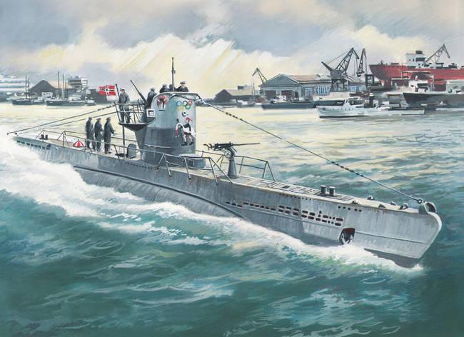 Сборная масштабная модель U-Boat Type IIB немецкая подводная лодка (1943 г.) 1/144 ICM S010, фото 2