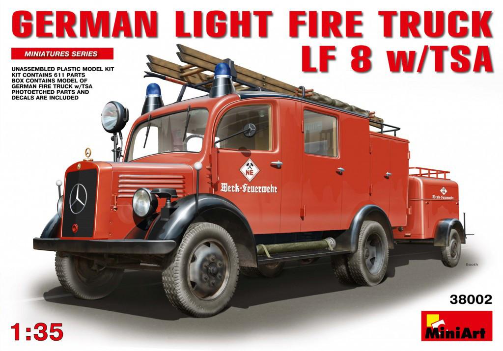 Немецкий пожарный автомобиль LF8 с прицепом и помпой. Сборная модель. 1/35 MINIART 38002