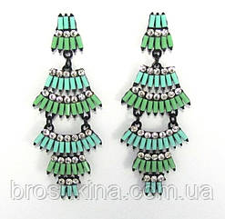 Серьги с камнями светло-зеленые L 7.5 см