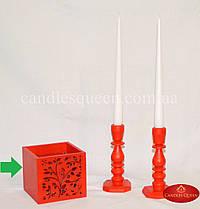 Подсвечник деревянный с резным узором красный 110х110х100 мм