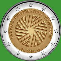 Латвия 2 евро 2015 г. Председательство Латвии в ЕС . UNC